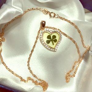 shamrock heart S925 Vermeil Singapore necklace NEW
